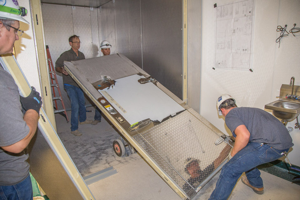 Walk-in Cooler Installation --setting the door